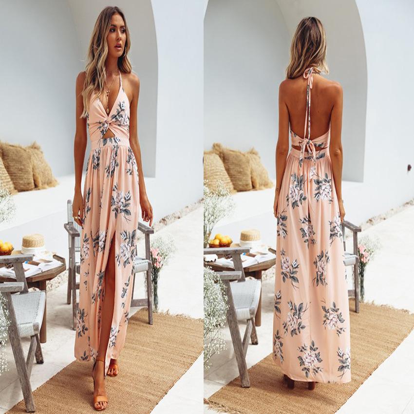 Summer Fashion Girl Chiffon Print V neck Sexy Beach Women Casual Long Maxi Dresses
