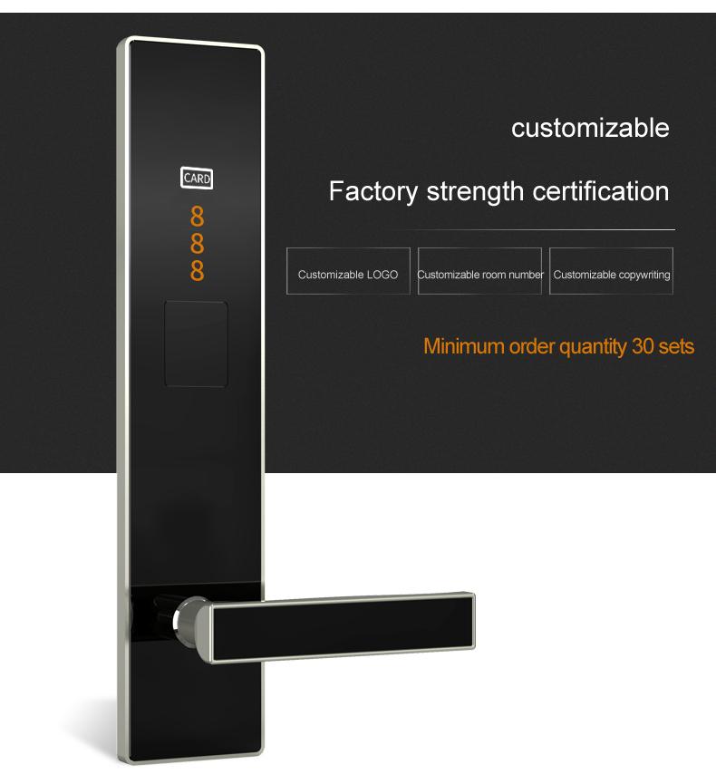 Ultra-thin 304 stainless steel Electronic Swipe Card Door Lock RFID Smart Hotel Lock System Smart Lock For Hotels