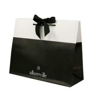 Custom printed black kraft paper shopping gift packaging handle bags with your own logo