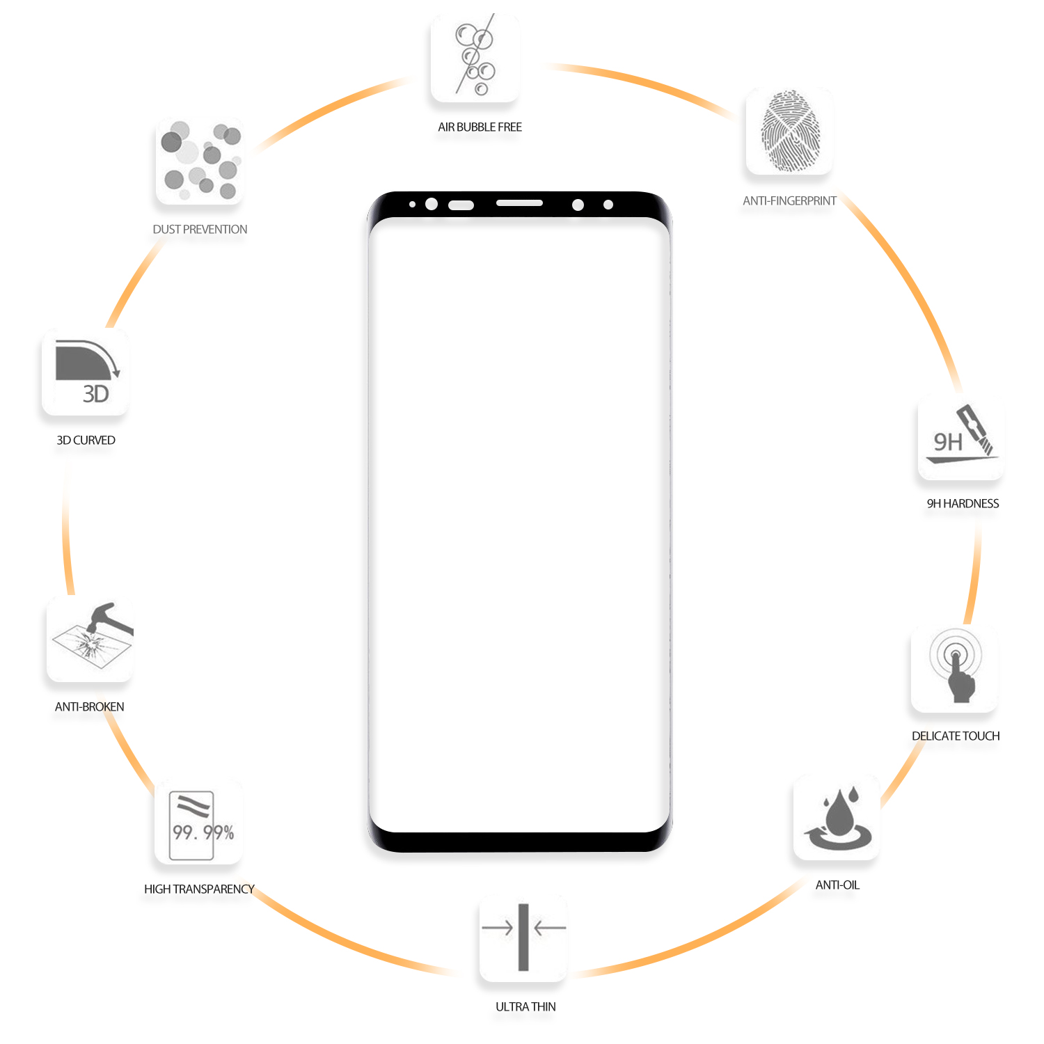 For samsung s9 glass protector 3D explosion-proof tempered glass for Samsung Galaxy S9/S9 Plus screen protector
