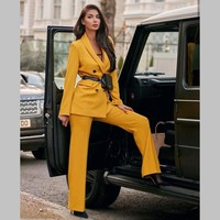 Vintage Double Breasted Womens Pant Suit Notched Blazer Jacket & Pant Spring Office Wear Women Suits Y12088