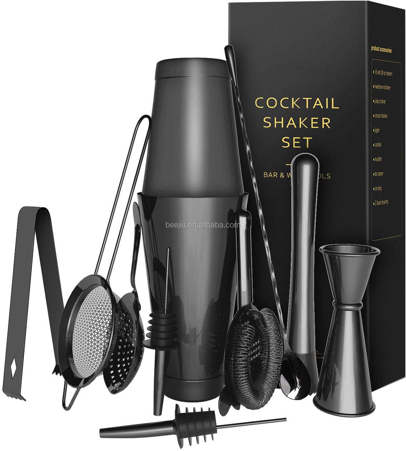 Stainless Steel Bar Tools Black Boston Cocktail Drink Shaker Set Bartender Kit Black