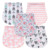 Factory Supply triple layer customize pattern 100% organic cotton 5pack baby unisex burp cloth set