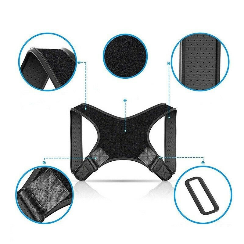 ISO, CE approved Adjustable Back Posture Corrector Brace black/grey color