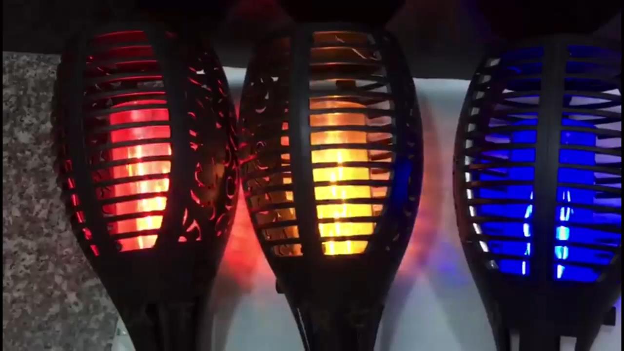 33 LED bahçe lambası renkli güneş enerjisi açık ışık su geçirmez IP68 plastik alev ışığı