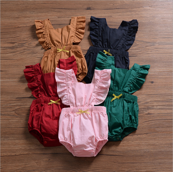 2019 top selling flutter sleeve solid summer kids newborn clothes muslin cotton baby romper