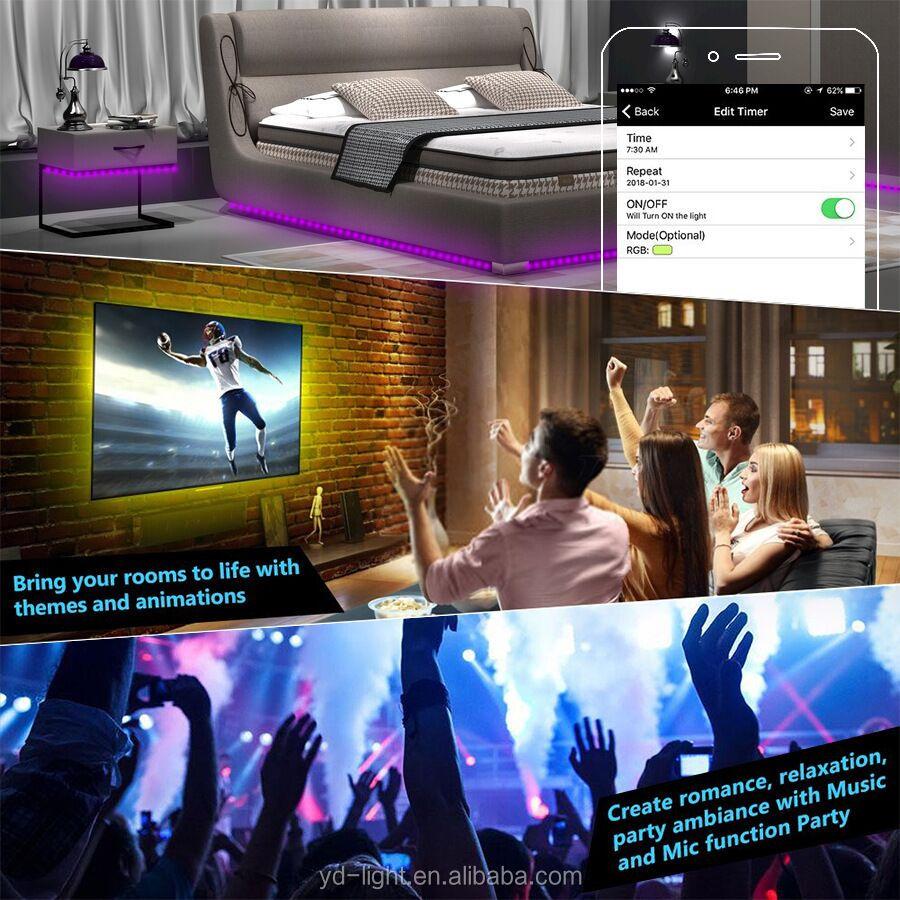 Alexa WiFi หนึ่งชุด 24 44Key รีโมทคอนโทรล 5 M 12V 5A Power 5050 RGB FLEXIBLE LED Strip light TV