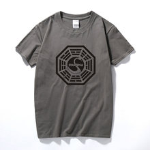Футболка с принтом LOST Dharma, хлопковая футболка с короткими рукавами для фитнеса, футболки, Camisetas Masculinas(Китай)