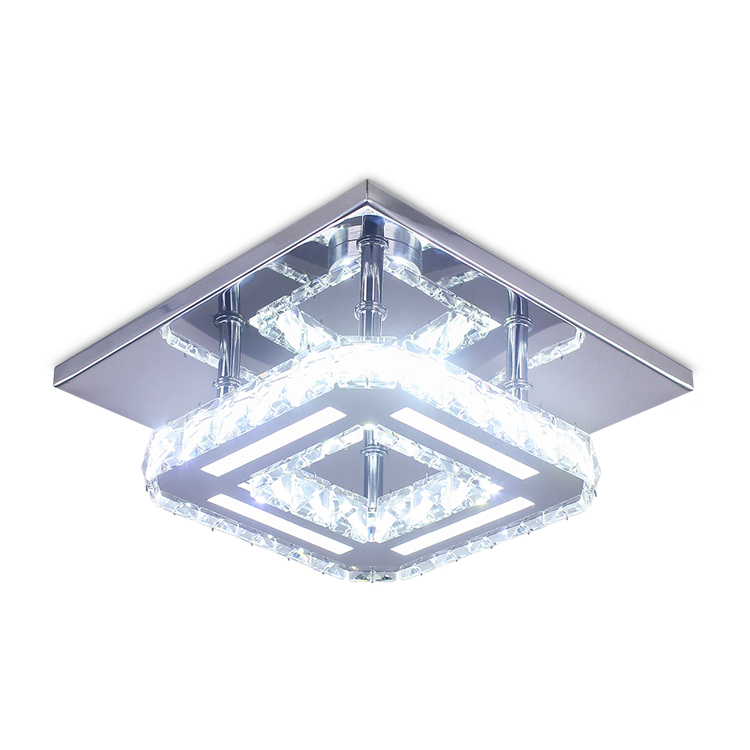 Brand New Square Crystal Chandelier Modern Ceiling Light Led Lustre Salon for Bathroom Hallway Balconey MC033