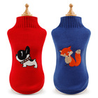 Cute Pullover Dog Sweater Cartoon Pet Embroidered Well Kit Pet Clothes Sweater for Dogs Puppy Kitten Cats, Classic Red Blue