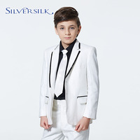 Customized logo straight white boys tuxedo jacket pants kids suit design
