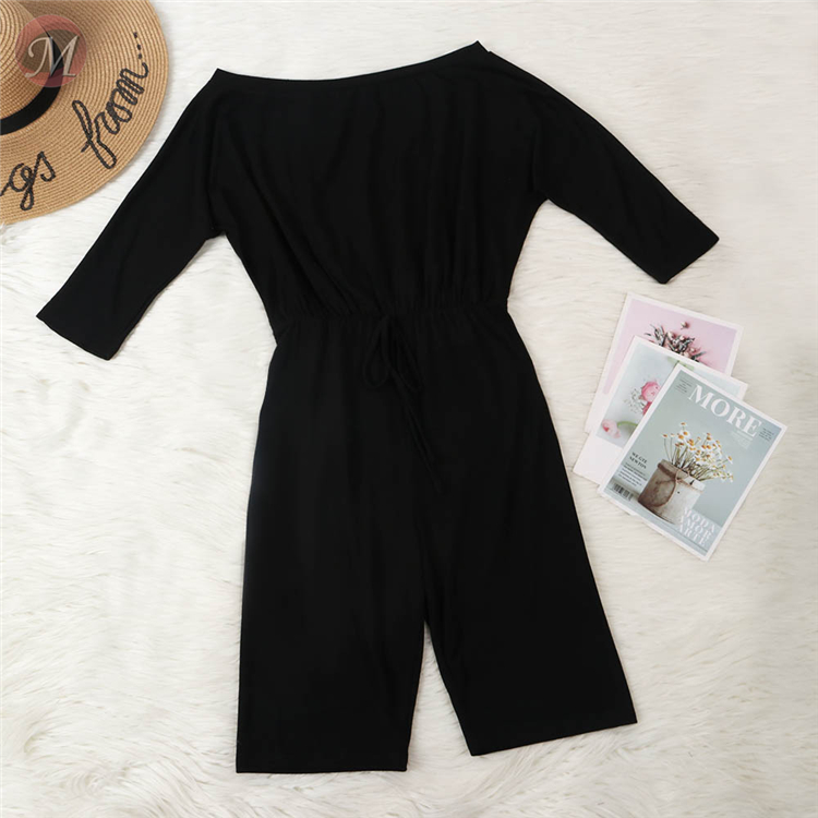0060622 Fashion Summer 2020 Ladies Wholesale off the shoulder solid color bandage casual Women One Piece Jumpsuits And Rompers