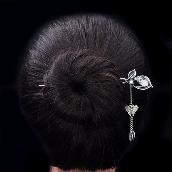 High quality china style white magnolia jade hairpin 925 sterling silver hairpin