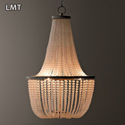 Sustainable products American country retro pendant light decor villa hotel frosted glass large crystal chandelier beads