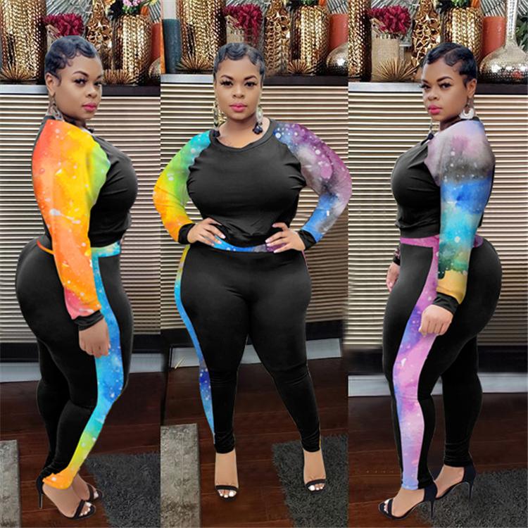 xinyi  Fashion 2020 woman night club clothing plus size two piece set