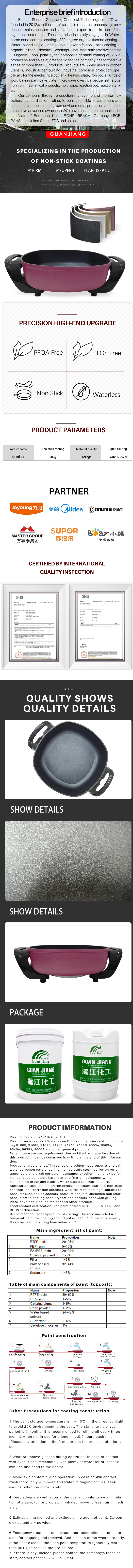 Water based non stick coating marble coating pan non-stick frying pan Cookware PTEF Coating paints