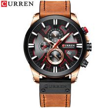 CURREN брендовые Роскошные мужские часы, кожаные кварцевые часы, модные наручные часы с хронографом, мужские спортивные военные 8346, Relogio Masculino(Китай)