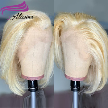 Alimina Factory Price Brazilian 613 Straight Hair Wig,Wholesale Virgin Bob Lace Frontal Wig,613 Bob Human Hair Lace Wig