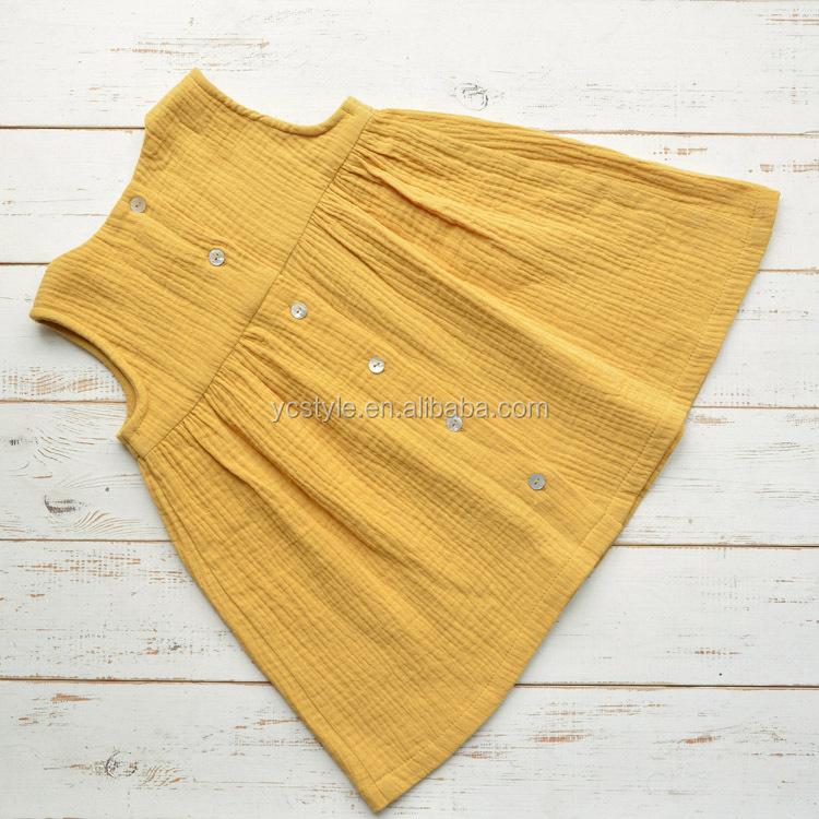 ชุดเดรสแขนกุดสำหรับเด็กผู้หญิง,ผ้าฝ้ายมัสลินสองชั้นเสื้อผ้าสำหรับเด็ก