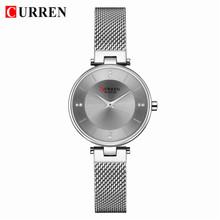 CURREN Роскошные часы с кристаллами для женщин Лидирующий бренд Классические черные стальные сетчатые женские наручные часы браслет девушка ...(Китай)