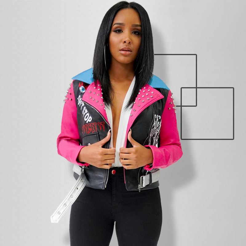 Stitching Color Printing Rivets Pu Leather Punk Jacket For Women Coats Trendy Fashions