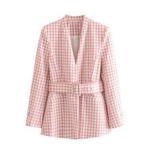 Женский клетчатый Блейзер KPYTOMOA, винтажный офисный пиджак с поясом, верхняя одежда с длинными рукавами и карманами, 2020(Китай)