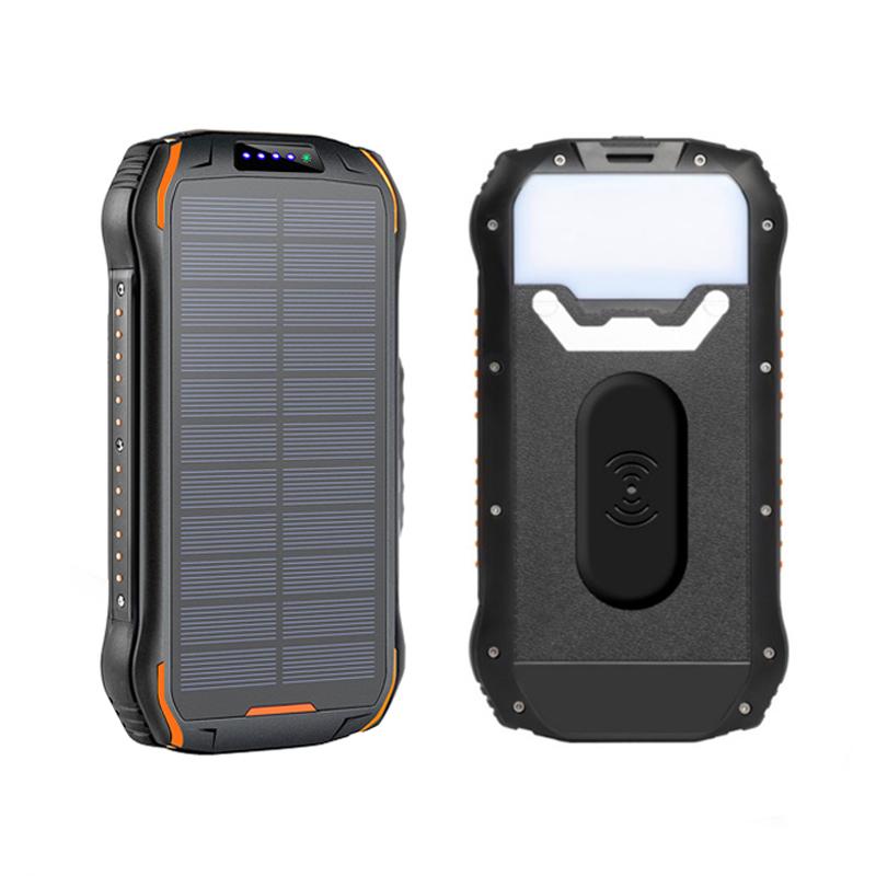 שמש כוח מטען אלחוטי בנק USB כוח בנק 26800mAh עמיד למים סוללה מטען נייד שמש פנל עם LED אור