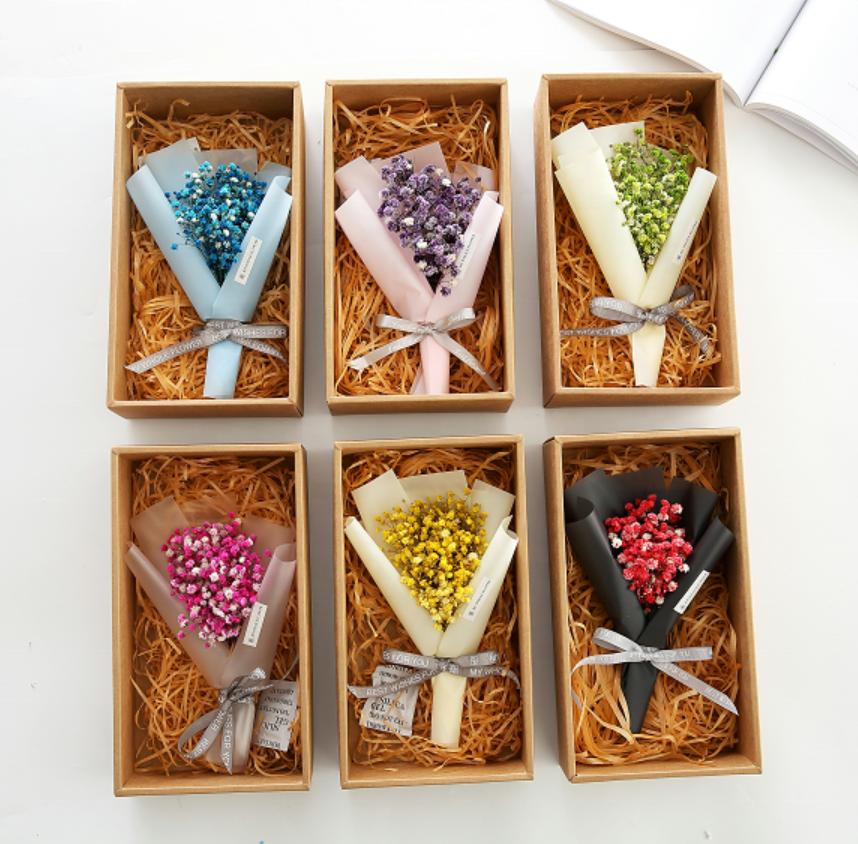 ธรรมชาติที่เก็บรักษาไว้ประดิษฐ์ดอกไม้ MINI babysbreath Bouquet สำหรับงานแต่งงานเทศกาลของขวัญ
