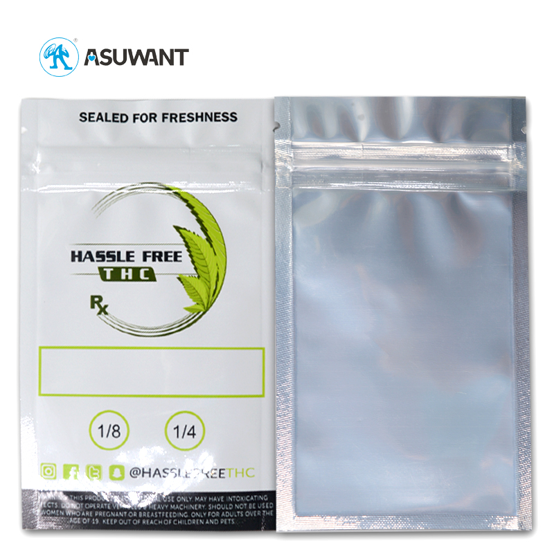 Wholesale Custom Printed Resealable Three Side Sealed Foil Zipper Pouch Smell Proof Ziplock Mylar Bags