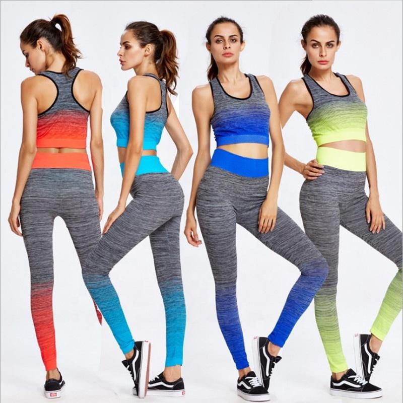 Frauen nahtlose sexy fitness yoga tragen in ombre crop top legging 2 stück anzug lauf gym sportswear