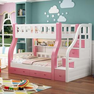 Luxurious Modern Wood Child Bed Furniture Pink Multifunctional Ladder Designs Comfortable Double Bunk Children Kids Girl Beds
