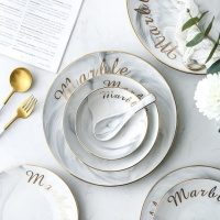 Nordic Style Marble Plates Ceramic Dinner Set Gold Inlay Porcelain Dessert Plate Steak Salad Snack Cake Plates Tableware