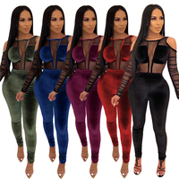 B91188 2020 jumpsuits women 2020 ladies lace mesh jumpsuit sexy see through  jumpsuit women onesie women rompers 2020
