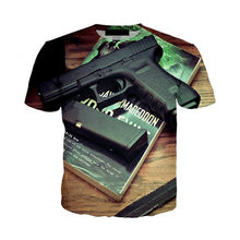 Мужская/женская футболка, летняя футболка с 3D-принтом пистолета, в стиле Харадзюку(Китай)