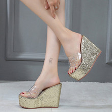 Обувь на платформе женские туфли на танкетке, туфли с прозрачными шлёпанцы для женщин туфли на высокой танкетке; Стразы; Женские босоножки н...(Китай)