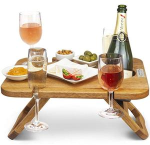 Custom Wooden Portable Folding Outdoor table Wine Beer Champagne Picnic Table