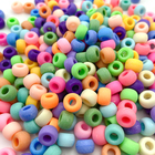 Factory Price Wholesale 6*9MM Multicolor Matte Effect Pony Beads Plastic Big Large Hole Beads For Jewelry Making Diy Toy