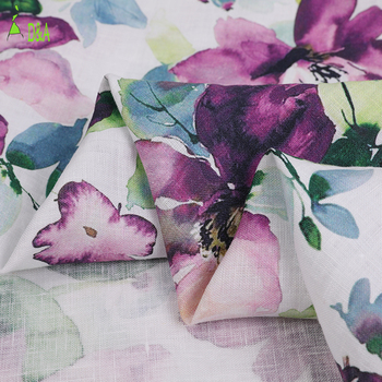 Flower design skin-friendly woven plain custom printing french linen fabric pure