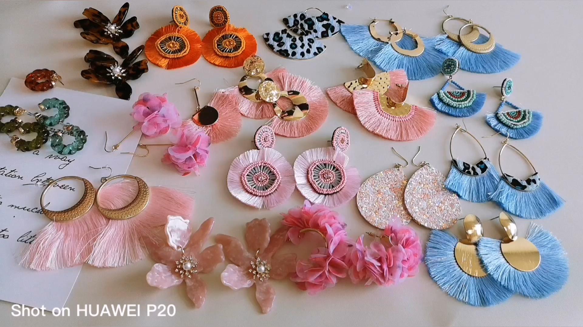 All kinds of tassel Earrings for women Bohemian Big Tassel Drop Earrings Rattan Dangle Earring Fan Cotton Fringe Earrings