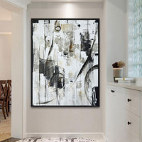 Original Semi Abstract Artwork Canvas Wall Art Modern Landscape Oil Paintings Black and White