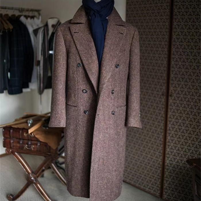 Fabrika özel özel erkek palto terzilik çentik tam el yapımı ceket iyi ambalajlama ve teslimat
