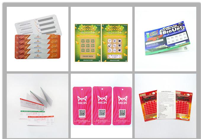 Лакировка, глянцевая поверхность отделка офсетной печати, 4 цвета печати Тип Пользовательские отрывать лотерейные билеты