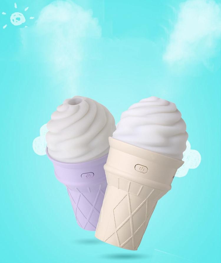 New Style Portable Mini Size Creative Colorful Ice Cream Timing USB Humidifier Mist Maker