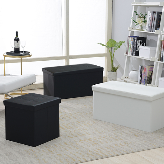 Reatai PVC leather folding square storage home stool foldable ottoman for clothes
