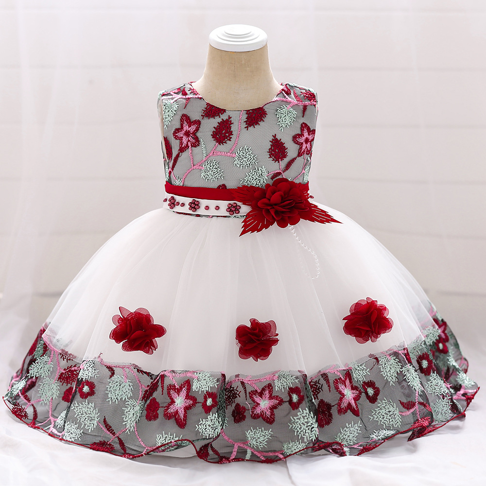 2019 Summer Fashion Style Children Clothing Kids Vest Flower Chiffon Frocks Girls Evening Party Dresses for 0-1 years baby girl