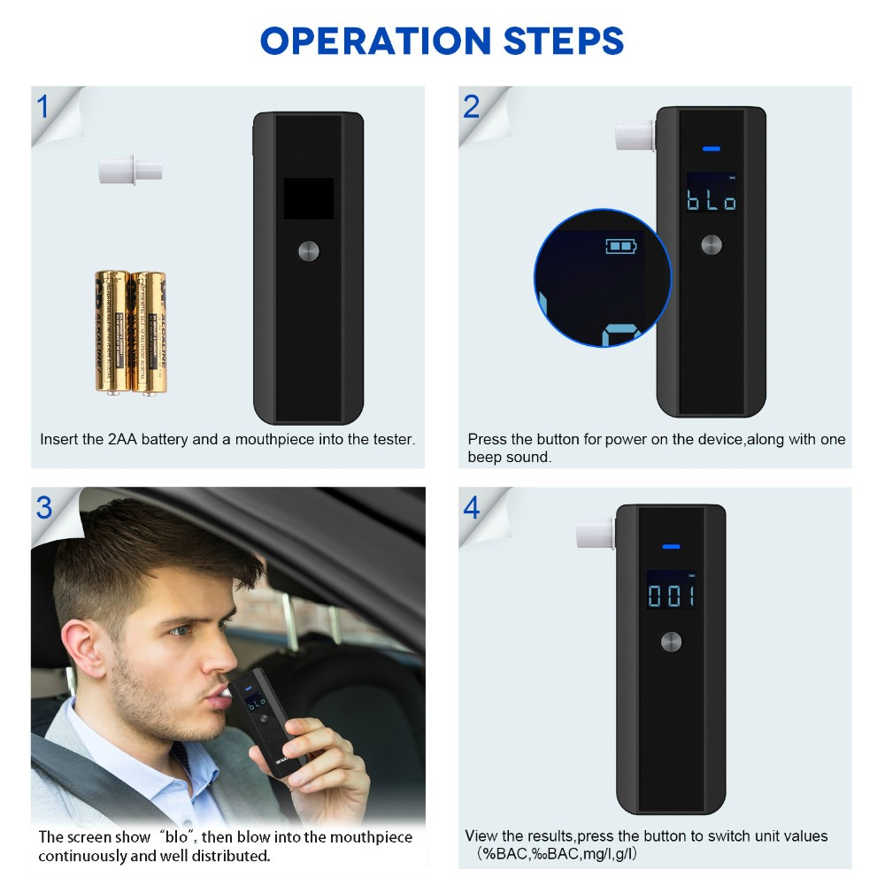 Portable LCD Breath Alcohol Tester Breathalyzer