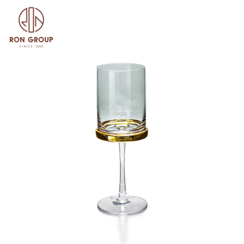 promotional products hand made custom size wedding golden water cut glass goblets