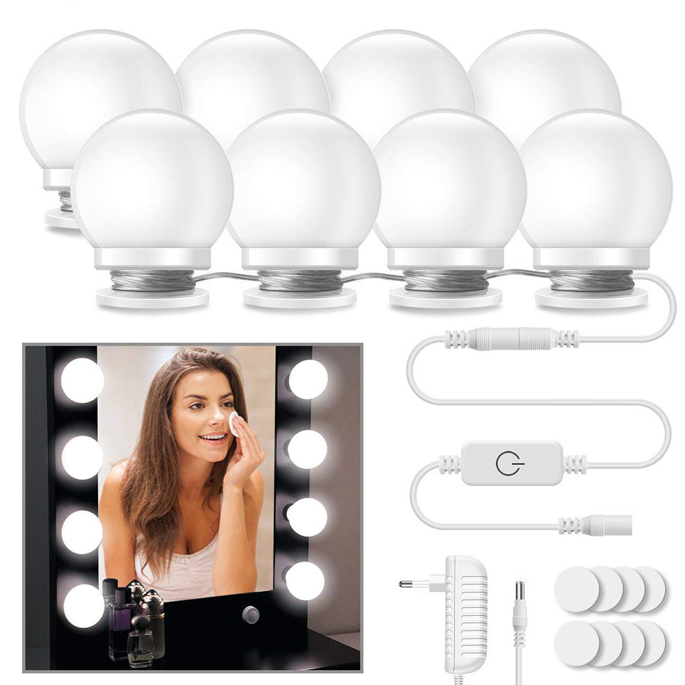 Makeup Mirror Vanity LED Light Bulbs Kit, USB Charging Port Cosmetic Lighted Make up Mirrors Bulb