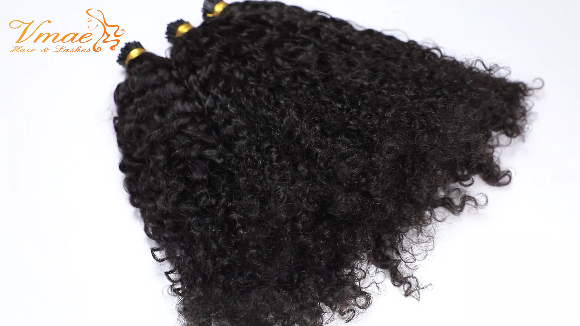 VMAE Mongolia Raw Virgin Natural Black I Tip Pre Bonded Custom Kinky Curly Cuticle Aligned Human Hair Pre-bonded Hair Extensions