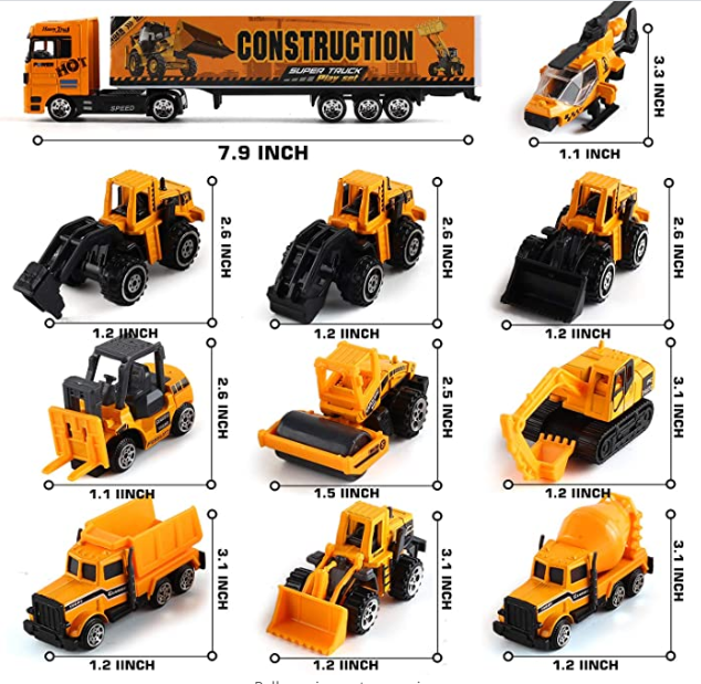 Huiye 2020 best selling 19 in 1 Engineering Construction Carrier Truck Toy Set diecast toy vehicles model car truck toy